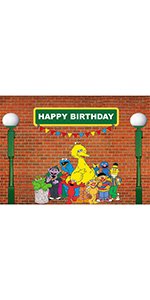 7x5ft Sesame Street Brick Wall Photography Backdrop Banner Supplies Props