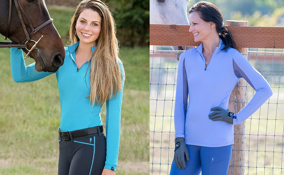 side by side images of women wearing the long sleeve cooldown ice fil shirt