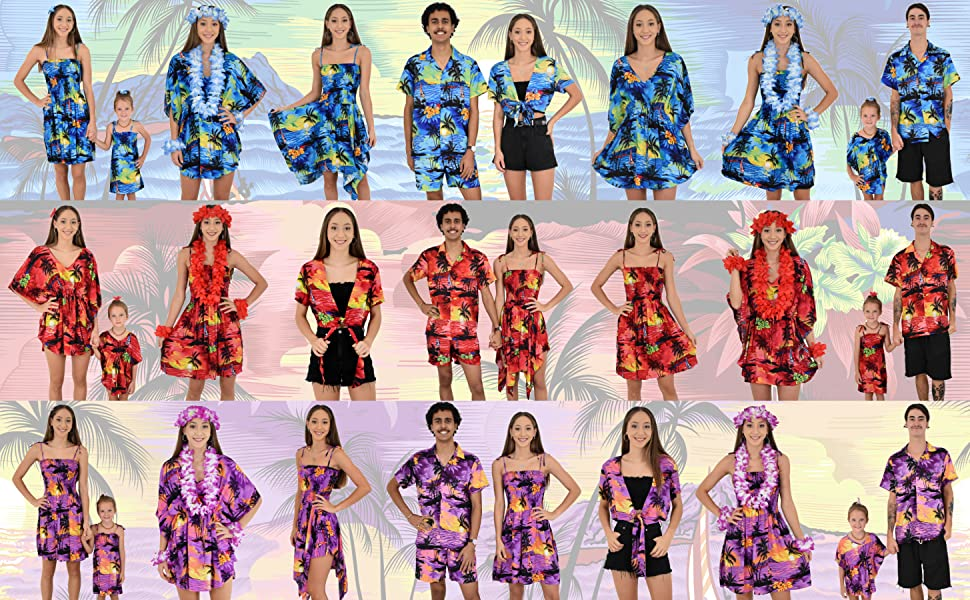 Island Style Clothing Family Matching Hawaiian Sunset Outfits Tropical Cruise Party Wear Fun Loud