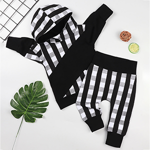 Toddler Infant Baby Boys Casual Plaid Long Sleeve Hoodie Tops Sweatsuit Pants Outfit Set