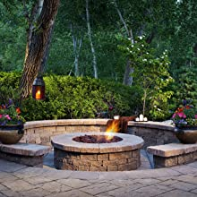 round fire pit outdoor lava rock natural