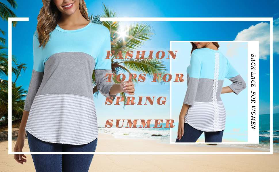 triple block tshirt three quarter sleeve shirt women 3/4 sleeve for women
