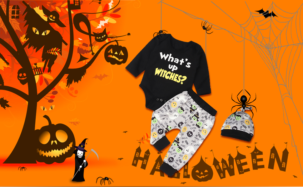 Halloween Newborn Baby Girl Boy Clothes Funny Letters Romper Top Bat Ghost Pant Outfit Set