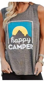 Happy Camper Tank Tops for women Sleeveless Shirts Graphic Round Neck Mountain Sunrise Grey