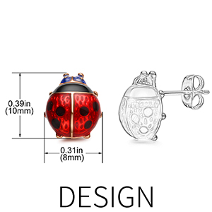 Red Ladybug Stud Earrings