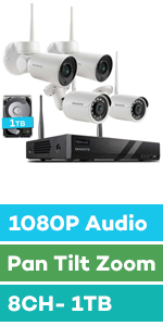 wireless security camera system ptz audio 1080p pan tilt zoom with hard drive