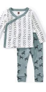 Tea Collection Wrap Top Baby Outfit, Baby Geo - Paperwhite Design