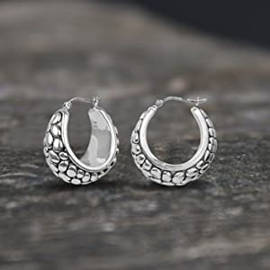 925 Sterling Silver Jewelry Light-Weight Antique Filigree Cut Stud Earring