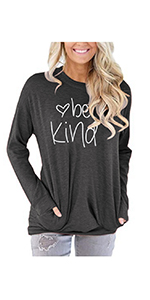 Women Be Kind Sweatshirt Inspirational Letters Print Pullover Tunic Top Casual Long Sleeve Blouse