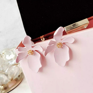 pink flower earrings for women