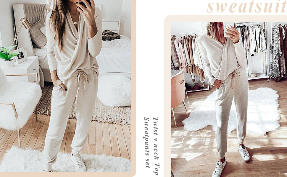 2 piece outfits causal sets women v neck sweatsuits