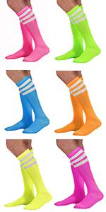 neon socks pink green blue purple yellow bright fluorescent sock striped stripes tube soccer sport