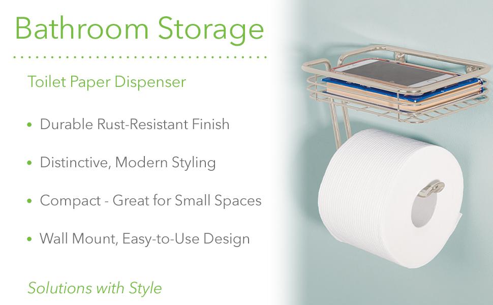 Bathroom storage toilet paper dispenser rustproof modern easy to install wall mount durable finish