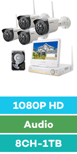 wireless security camera system with monitor and hard drive 1080P