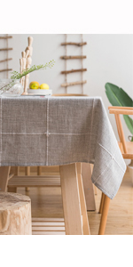 Vedouci Tassel Tablecloth Rectangle Table Cloth Cotton Linen Wrinkle Free Anti-Fading Tablecloths