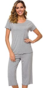 Womens Comfy Pajama Set Short Sleeve Sleepwear