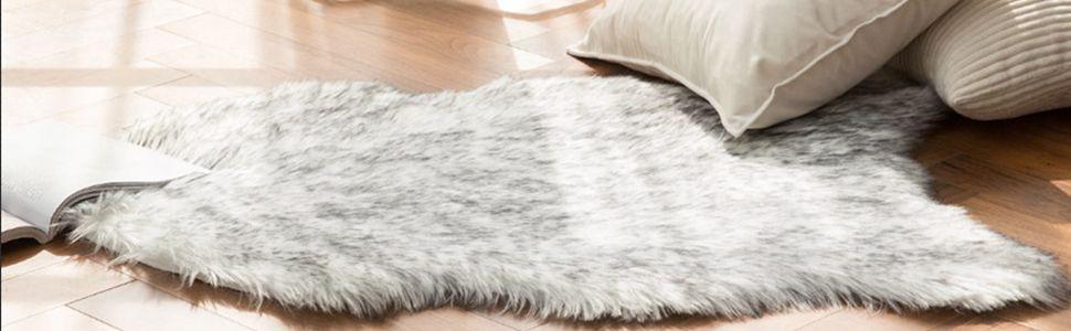 2x3 feet gradient grey sheepskin faux fur rug decorative shaggy carpet for fireplace sofa floor