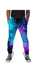 B07MLQ4CVJ Mans 3D Print Jogger Pants Galaxy