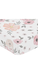 Blush Pink, Grey and White Baby or Toddler Fitted Crib Sheet for Watercolor Floral Collection
