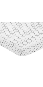 Grey and White Geometric Mini Portable Crib Sheet for Mod Dinosaur Collection