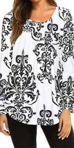 Mansy Women's Paisley Boho Printed Long Sleeve Scoop Neck Pleated Floral Blouse Top Tunic Shirt