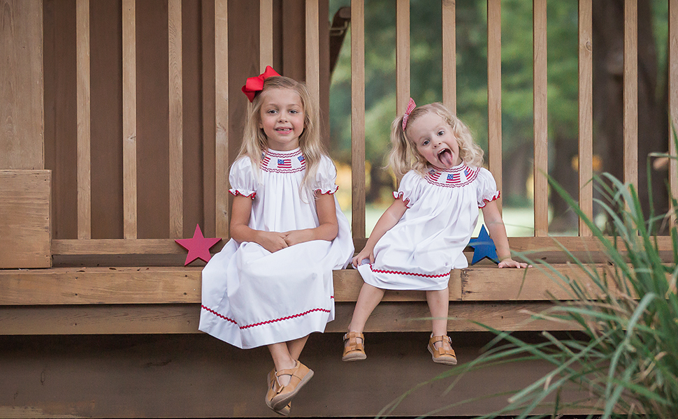 Fine Hand Smocked Patriotic dresses for girls and coordinated shortall for boys, baby, toddler sizes