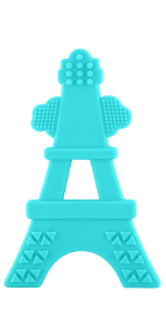 soft silicone teal tower teether multiple textures made in usa
