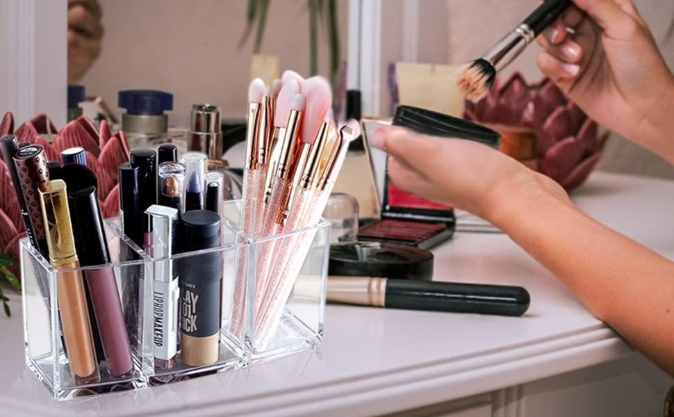 makeup brush holder clear