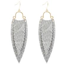 MIRMARU Long Tassel Dangle Fringe Drop Stud Earrings with Natural Triangle Cut Stone for Women
