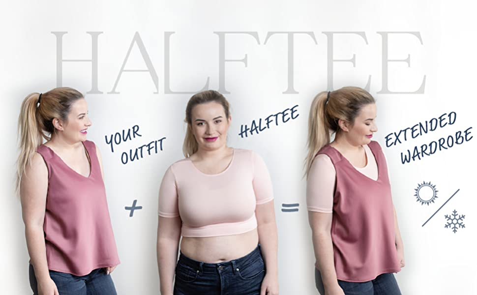 A woman in a pink sleeveless top with a light-pink Halftee underneath to extend her wardrobe.