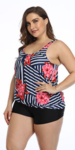 Plus Size Swimsuits for Women Striped Print Tankini Set 2 Piece Athletic Bathing Suit with Boyshorts