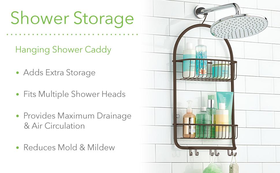 Metal Wire Shower Bathroom Hanging Storage Organizer Center Built-In Stall Tub  Body Wash