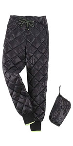 Womens Winter Insulated Packable Diamond Down Quilted Ski Snow Pants