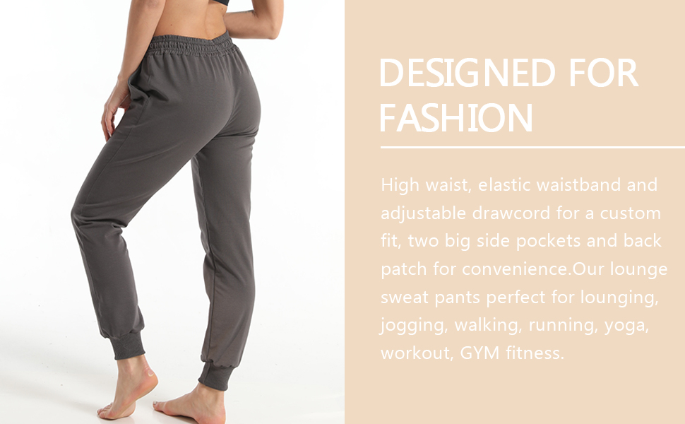 Abollria Womens Joggers Elastic Yoga Sweatpants Cotton Loose Workout Running Joggers Drawstring Lounge Pants