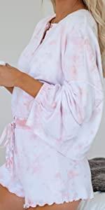 Women Notch Collar Long Sleeve Print Top and Shorts Pajama Set Nightwear