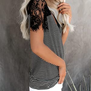 ETCYY NEW Womens Summer V Neck Lace T Shirts Casual Striped Cami Tops Short Sleeve Loose Tunic Blouse