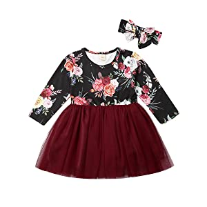 Toddler Girl Christmas Floral Tutu Dress