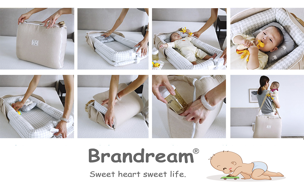 brandream baby bassinets for bed with bag