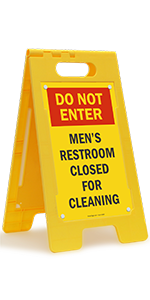 Do Not Enter Men's Restroom Closed for Cleaning, Folding Floor Sign, High-Impact Plastic