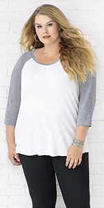 plus size curvy full figure baseball raglan tee shirt