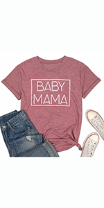 Baby Mama T Shirt for Women Pregnancy Announcement Shirt Casual Short Sleeve Tee Top New Mom Gift