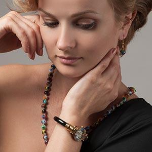 Murano Glass bracelet, Murano glass necklace, Murano Glass watch, Venetian watch, Murano millefiori