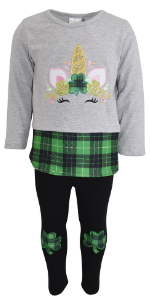 Unique Baby Girls Unicorn St. Patrick's Day Legging Set Outfit Green School Party Outfit Pants Shirt