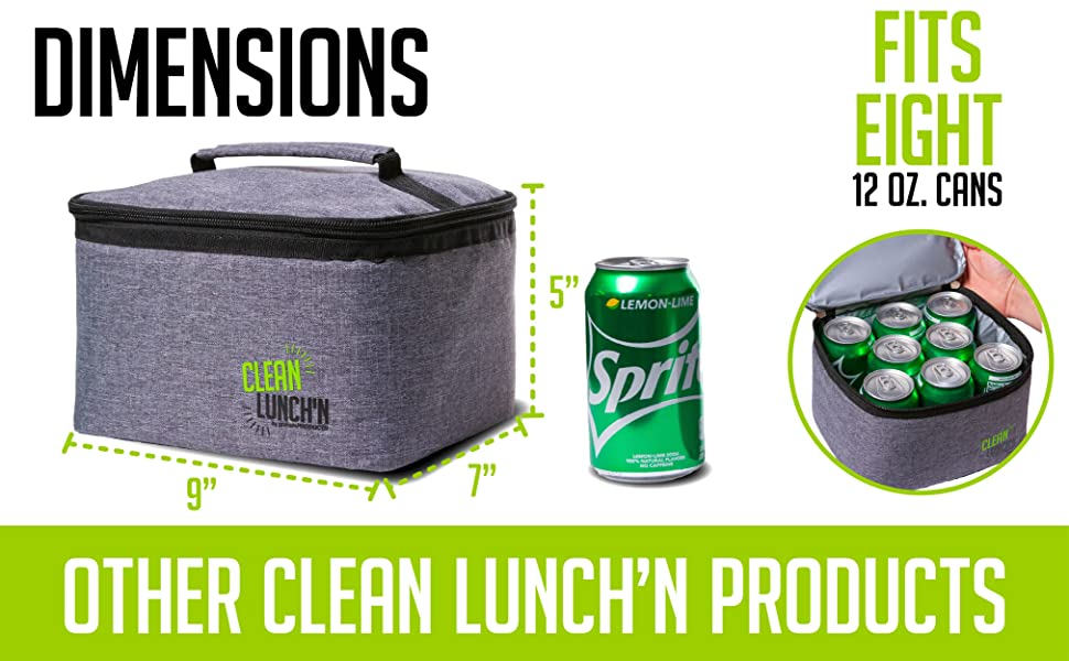 The lunch bag holds eight 12 oz. cans
