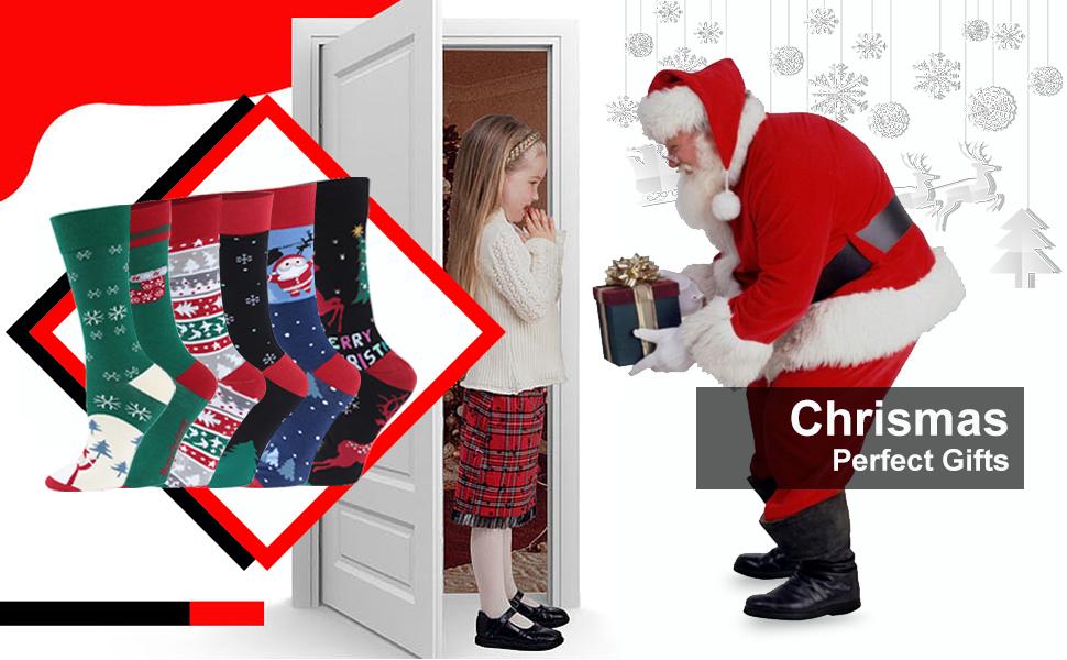 Unisex Funky Novelty Cartoon Holiday Crew Socks 4,6 Pairs HUSO Christmas Socks