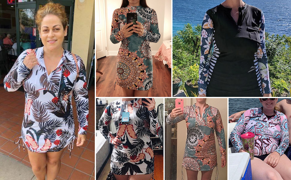 Caracilia Women's UV Sun Protection Long Sleeve Rash Guard Wetsuit Swimsuit Top UPF 50