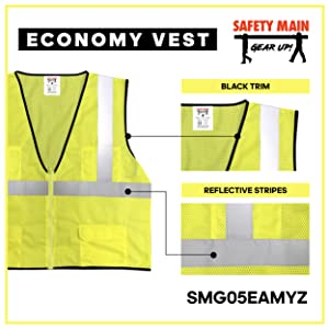 black trim high visibility nest reflective vest