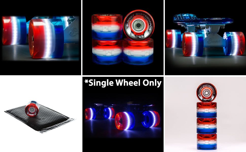 USA red white blue tri-color multicolor light up skateboard wheels single wheel sunset skateboard co