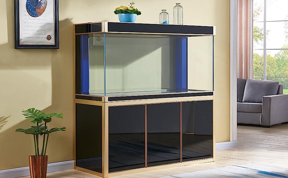 fish tank, aquarium, fish, aquatic, gallon, glass, clear, cabinet