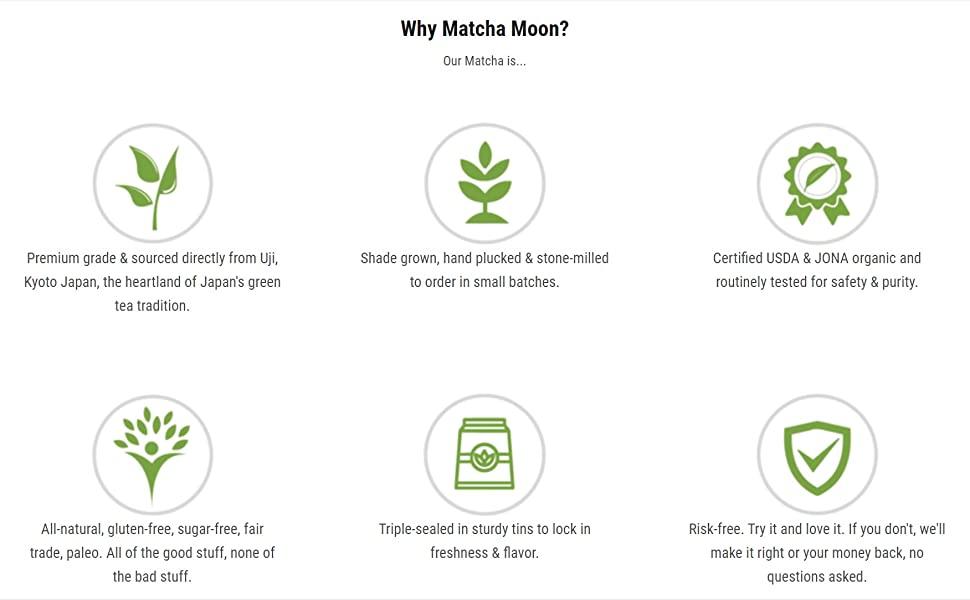 Matcha Moon organic premium japanese matcha green tea powder uji kyoto japan